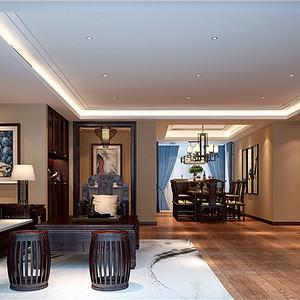客厅-扬州华信沁园新中式178㎡装修