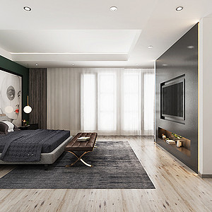 主卧室床头背景墙和电视背景墙