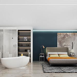 主卧室浴缸和面盆放在卫生间外面