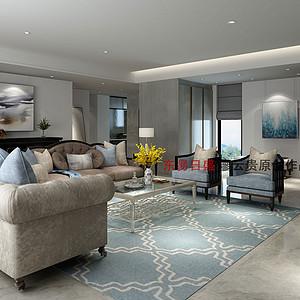 乐颂居200㎡四居室美式轻奢风格