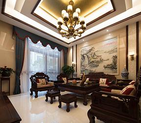 卢浮原著450平新中式风格别墅客厅