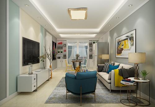 万和蓝山101平二室二厅现代简约风格装修效果图