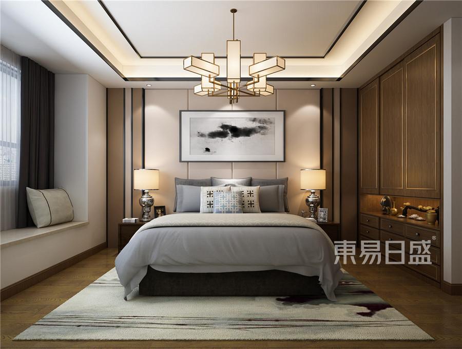 卧室新中式装修效果图效果图_2018装修案例图片-装饰