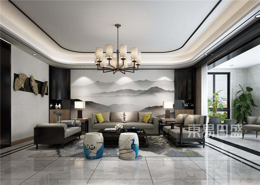 客厅新中式装修效果图效果图_2018装修案例图片-装饰