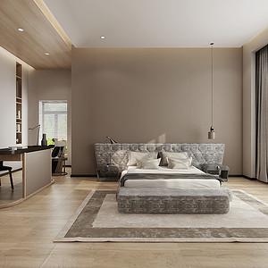 主卧室低饱和度的绿色和局部吊顶