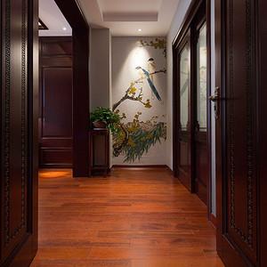 卢浮原著450平新中式风格别墅玄关