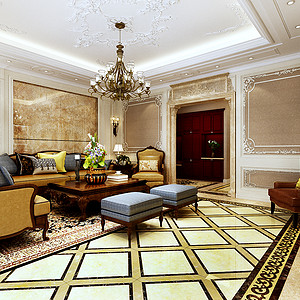 美式-客厅沙发背景墙