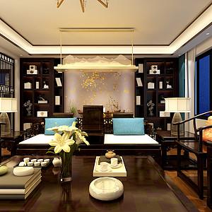 昆明华夏天璟湾560平米别墅新中式风格装修效果图