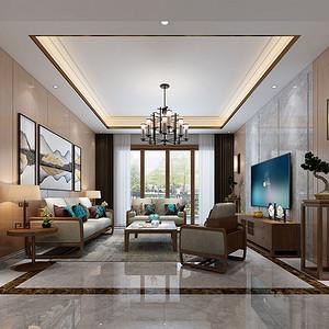 松山湖锦绣山河观园家装案例-180㎡现代新中式四房二厅装修效果图