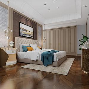 世茂天宸187㎡现代美式卧室效果图