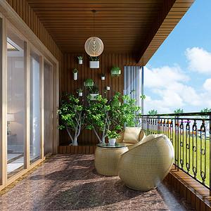 松山湖观园现代新中式阳台装修效果图