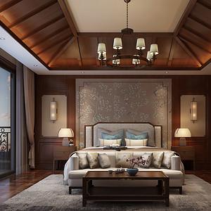 湖畔花园欧式风格卧室装修效果图案例