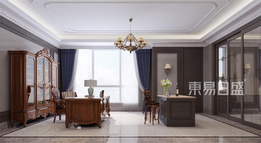 四居室-美式-书房-效果图