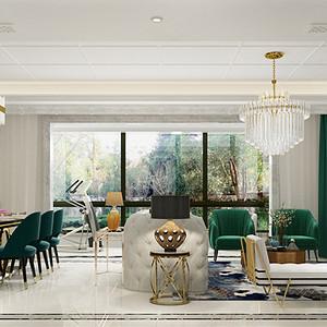世茂天宸187㎡现代美式客厅效果图