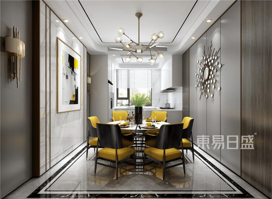 现代轻奢风格别墅餐厅装修设计效果图