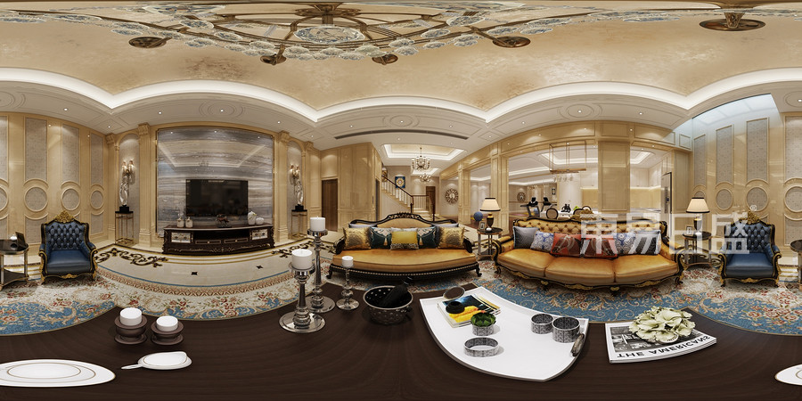 玫瑰府邸-欧式风格-客厅装修效果图