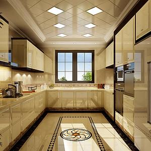 1500㎡别墅欧式奢华风格厨房效果图