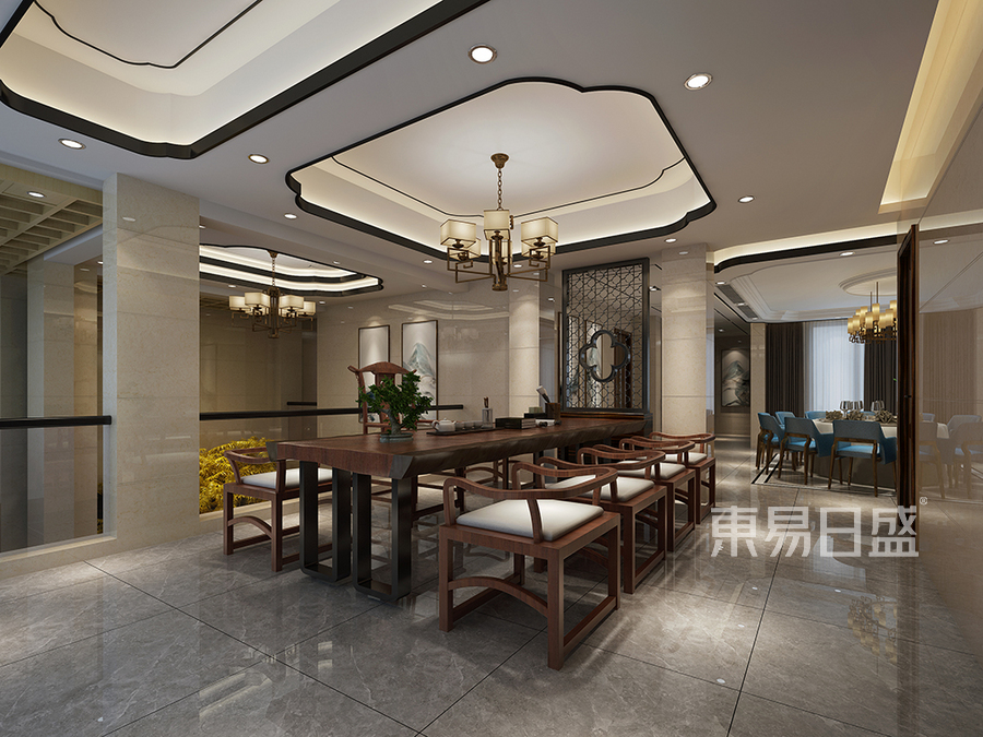 松山湖3号别墅负一层茶室装修效果图
