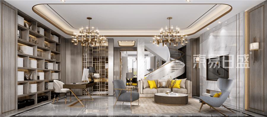 現代輕奢風格別墅客廳裝修設計效果圖