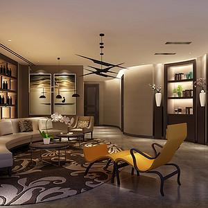 长滩一号800㎡双拼别墅新中式风格装修效果图