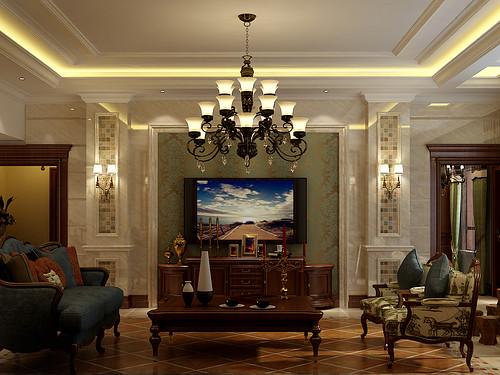 世茂诺丁山165平美式乡村风格效果图装修设计理念