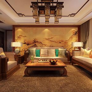 新中式客厅沙发背景墙