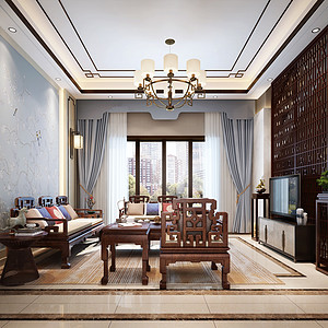 大朗碧桂园天汇装修案例-270㎡新中式别墅装修效果图