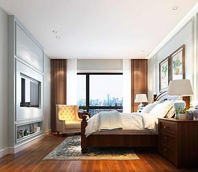 塞顿中心美式风格卧室装修效果图
