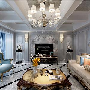 太湖国际社区 美式新古典 客厅