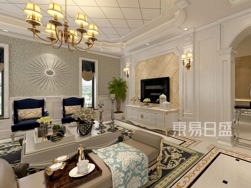 欧式古典 - 409㎡别墅欧式风格客厅电视背景墙