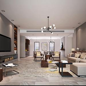 五房二厅-现代简约客厅 效果图