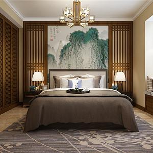 复地悦城花园新中式风格次卧装修效果图