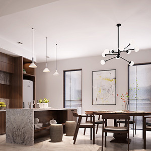 五房二厅-现代简约餐厅 效果图