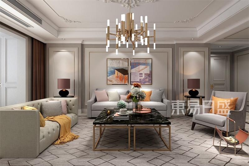 其他- 三居室-美式輕奢-客廳沙發背景墻-效果圖