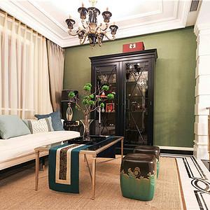 富力津门湖美式风格会客厅装修效果图