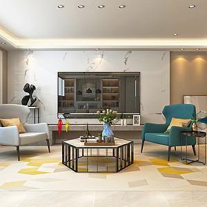 天山熙湖-三室两厅-现代简约风格装修案例