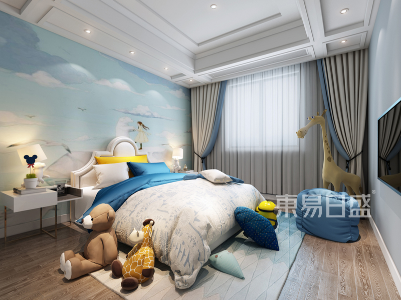 港式轻奢二层二儿子房间效果图