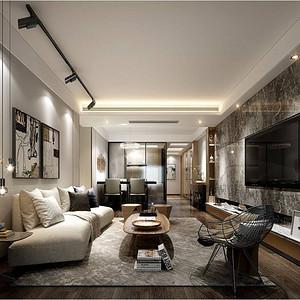 暖暖的宅 港式现代装修效果图 三室二厅 90㎡