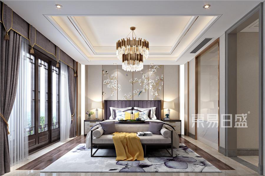 现代中式轻奢风格卧室效果图_2018装修案例图片-装饰图片