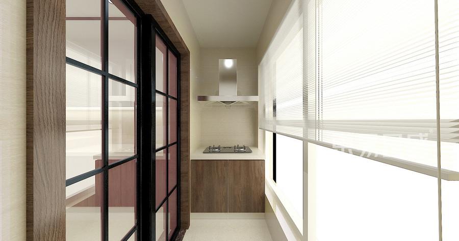 135平米阳光100现代中式风格厨房阳台装修效果图