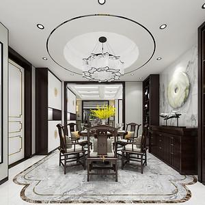龙熙台262平现代中式五居餐厅