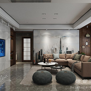 180㎡跃层都市极简风格客厅效果图,嵌入式电视墙