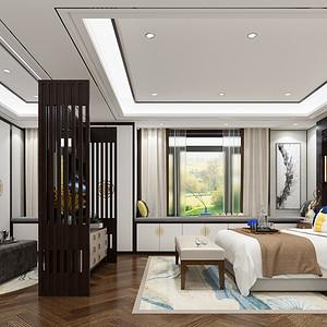 龙熙台262平现代中式五居主卧套间