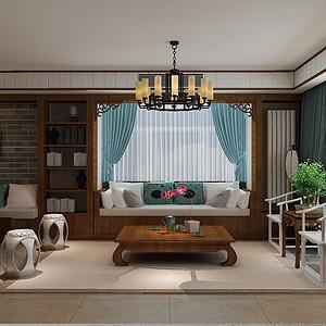 十三所小区-三居室-中式风格