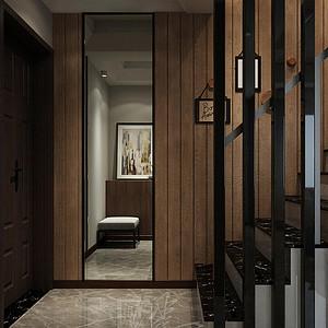 180㎡跃层都市极简风格玄关效果图,入户玄关及楼梯过道