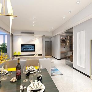136㎡三居室现代轻奢风格餐厅效果图