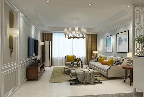 秀兰尚城130平三室二厅简欧风格装修效果图