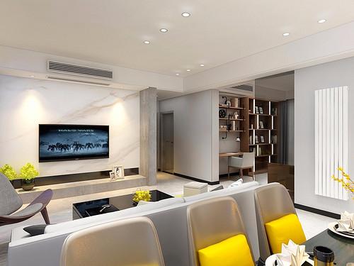 朗诗南门绿郡136㎡三居室现代轻奢风格装修案例