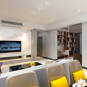 136㎡三居室现代轻奢风格客厅效果图