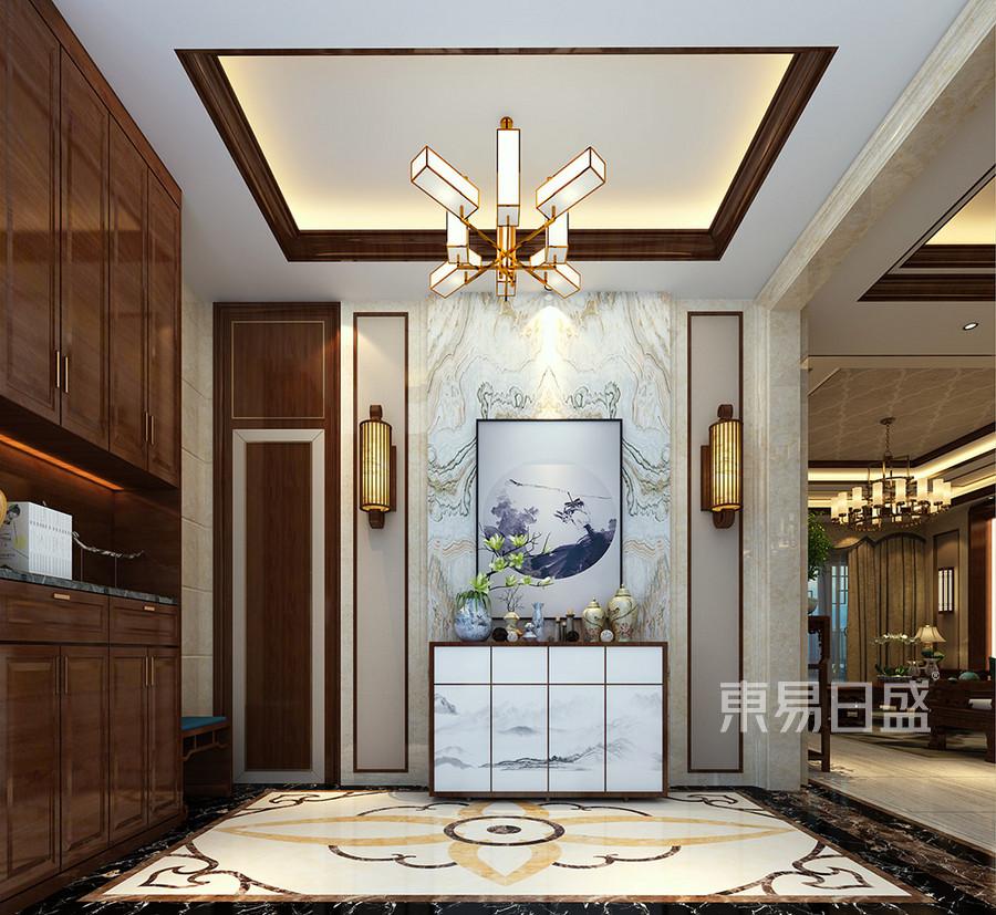 松山湖锦绣山河观园新中式混搭入门玄关装修效果图